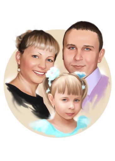 Семейный портрет по фото на холсте в Нур-султане — правильный подарок!