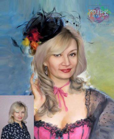 Заказать арт портрет по фото на холсте в Нур-султане